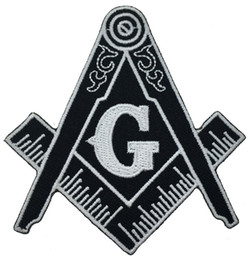 Wholesale Hot Badge - Hot Sale!Masonic Compass Patch Embroidered Iron-On Clothing Freemason Lodge Emblem Mason G Badge Sew On Any Garment Free Shipping