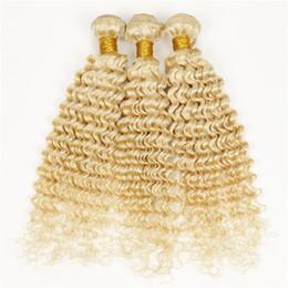 Estensioni dei capelli ricci biondi poco costosi online-Bundle di capelli vergini brasiliani onda profonda 613 capelli biondi economici capelli biondi ricci profondi ricci leggeri tessuto 3 pezzi in vendita