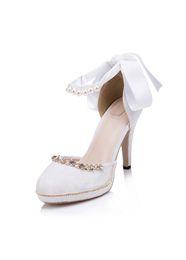 Wholesale Ivory Wedding Platform Rhinestones - Glamorous White Lace Rhinestones Wedding Shoes 2017 Pearls Beaded Bridal Shoes With Platform Round Toes Ankles Straps Women Shoes High Heels