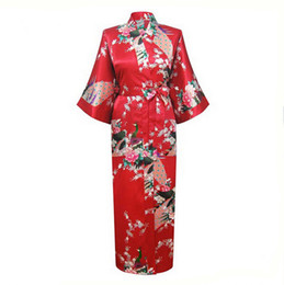 Wholesale Long Black Silk Nightgown - Wholesale- Red Chinese Women Silk Rayon Robes Long Sexy Nightgowns Yukata Kimono Bath Gown Sleepwear pijama feminino Plus Size XXXL NR060