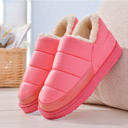 Wholesale Waterproof Snow Boots Wholesale - 2016 new winter boots women and men waterproof boots solid colors unisex winter snow boots flat slip-on soft cotton warm shoes