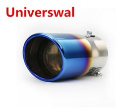 Wholesale Tail Pipes - Universal Colorful Neo Chrome Stainless Steel Car Rear Round Exhaust Pipe Tail Muffler Tip