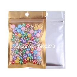 Wholesale Translucent Square Plastic - 7.5x12cm 100pcs zip lock bags, Gold flat bottom matte Translucent plating aluminium foil Small ziplock plastic bags