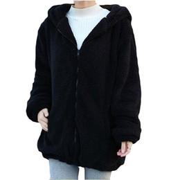 Wholesale Cute Hoodie Ears - Winter Women Hoodies Sweatshirts Long Sleeve Hoody Brand Cardigan Loose Fluffy Bear Cartoon Ear Warm Shirts Coat Cute Womens Clothes