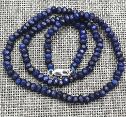 "Wholesale faceted gemstones - New 2x4mm Faceted Blue Sapphire Handmade Gemstone necklace 18""Silver clasps AAA"