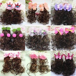Wholesale Kinder Barrette - All kinds of Wigs Hair Bows for kids Children's wig Hair accessory headwear hairpin wigs wedding party