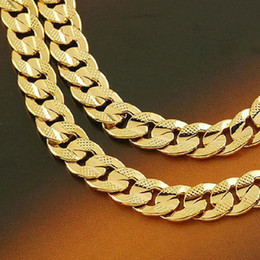 """Wholesale Mens Heavy Chain Necklace - Heavy 24k Real Solid Gold GF Mens Necklace 24"""" 10mm Curb Chain 72g Free shipping"""