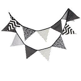 Wholesale White Tent Party - Wholesale-3.2M Black white Wave Fabric Bunting Flags Handmade Party Decoration Banner Home Indian Tent Bunting Garland