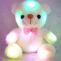 Wholesale Teddy Friend Birthday - Wholesale- 20cm Colorful Glowing Plush Teddy Bear Glow In Dark Flashing Toy Birthday&Christmas Gift For Children&Friends