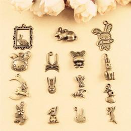Wholesale Bunny Charm Bracelet - DIY jewelry accessories wholesale handmade necklace bracelet rabbit charms, bunny Jade Hare pendants animal, vintage antique bronze charm