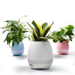 Wholesale Creatives Touch Wireless Bluetooth Flowerpot with RGB LED Night Lights and Bluetooth Speaker for plants and flowers at your office and home