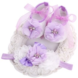 Wholesale Vintage Lace Headbands Newborn - Wholesale- Newborn Ballerina Booties Vintage Rhinestone baby Flowers shoes for girls Headband set,Cute toddler Girls shoe,Sapato Infantil