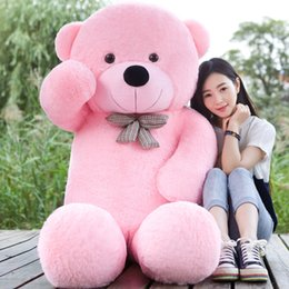 Wholesale Red Plush Teddy Bear - Wholesale- 5 COLORS Giant 160CM 180CM 200CM 220CM large teddy bear soft plush toy big stuffed kid baby life size doll girl Christmas gift