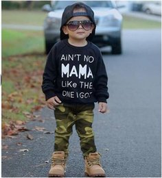 Wholesale Baby Boys Long Sleeve Tops - 2017 ins boys suits 2PCS Kids Toddler Boy long sleeve blcak MAMA T-shirt Tops+ Camouflage PP Pants baby wholesale clothing