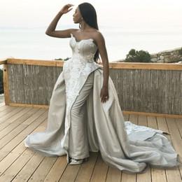 Bainha vestido de noiva de renda doce on-line-Vestidos de noite de prata africano longo trem Querida Lace apliques de cetim bainha árabe Prom Dress Long Custom Made árabes vestidos de noiva