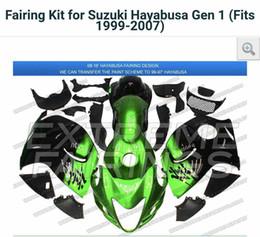 Wholesale Injection Molding Hayabusa - green Black Injection molding custom painted fairing Suzuki Hayabusa GSX1300R 97-07 0077