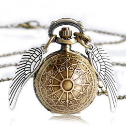 Wholesale Snitch Pocket Watch - Wholesale- Angel Wings Necklace Relojes The Deathly Hallows Necklace Snitch Brown Necklace Ball Jewelry Fob Pocket Watch Dropshipping