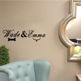 Wholesale Named Wall Stickers - Custom made the name of the Husband and Wife Vinyl Wall Stickers Creative Wall Art for Bedroom Decor