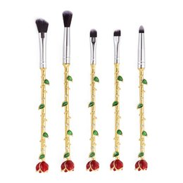 Wholesale Metal Hair - Beauty And The Beast Rose Flower Makeup Brushes Professional 5 Pcs Set lot Metal Hand Wand Eye Shadow Lip Brush Makeup Brushes