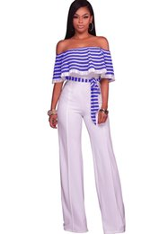 Wholesale Women Bodysuits Fashion - New Summer Fashion Women Patchwork Jumpsuits Sexy Off Shoulder Ruffles Sleeve Wide Legs Jumpsuits S-XXL Plus Size Ladies Bodysuits Online