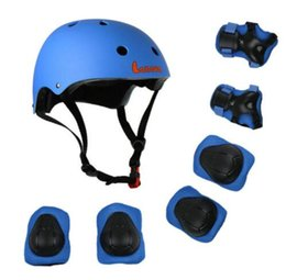 Wholesale Red Scooters - 7pcs Set Protective Gear Set Kids Knee Pads Elbow Pads Wrist Protector Protection helmet for Scooter Cycling Roller Skate Children