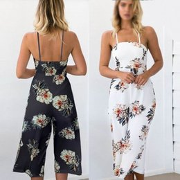 Wholesale Sexy One Piece Clubwear - One Piece Jumpsuit Beach Dress New Fashion Sexy Women Clubwear Summer Sleeveless Loose Party Jumpsuit Playsuit Beach Trouser