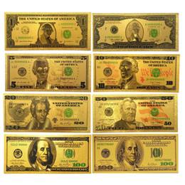 Wholesale Hot Living - USA Gold Foil Colorful Dollar Props Money 8pcs $100 50 20 10 5 2 1 Art Collectible Banknotes Hot Home Decoration Crafts Gifts Souvenir Money