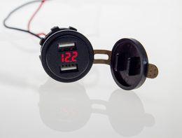 Wholesale Usb Socket Panel - Wholesale- 12-38V 4.2A Dual USB Charger Socket Red LED Voltage Meter Voltmeter For Motorcycle Boat Car Truck Switch Panel