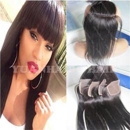 Wholesale Human Hair Top Bangs - Top Quality 8A brazillian virgin hair closure 3.5x4 free parting human hair closure 130% density silky straight lace closure with bangs