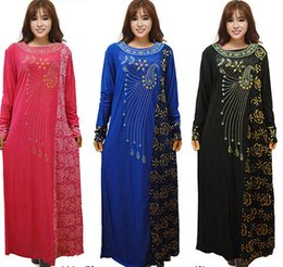 Wholesale Islamic Crystal Wholesale - muslim cotton dress women dresses islamic clothes solid arabia clothing long dress for fat women D166