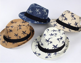 Wholesale Wholesale Christmas Tree Hat - Summer New Parent-Child Coconut Tree Print Straw Sunhat With Ribbow Trim Beach Printing Jazz Hats Fashion Trilby Cap For Adult And Kids