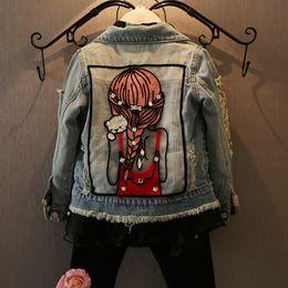 Chaquetas de lentejuelas para niños online-1-12Y Baby Girls Hole Denim Chaquetas Abrigos Moda Niños Outwear Escudo Lentejuelas Niña Diseño Niñas Niños Denim Jacket