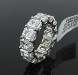 Wholesale Eternity Band Gold Diamond - Fine 14.23ct GIA D-F VVS-VS Emerald Cut Diamond & Platinum 7mm Eternity Band