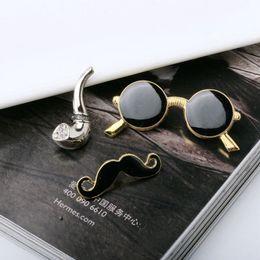 Wholesale Enamel Mustache - Wholesale- 2017 Sale Items European Styles Men Brooches Glasses Mustache Master Pipe Sets Jewelry Gifts Nail Pin Brooch Black Enamel