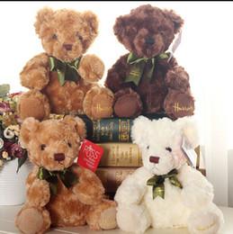 Wholesale Wedding Soft Toys Bears - Wholesale- 20cm Genuin Kawaii RUSS Teddy Bear Plush Toy 3 Colors Soft Bear with Tie Toy for Kids Wedding Dolls Kids toy