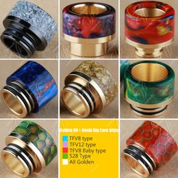 Wholesale Bearings Wholesale - New Golden SS Epoxy Resin drip tips Wide Bore 510 dripper tip Mouthpiece TFV8 TFV12 Big Baby beast Tank 528 type Kennedy AV24 RBA atomizers