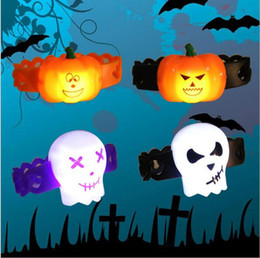 Wholesale Kids Wrist Snap - Halloween Light Up Snap Slap Bracelet LED Wristband Band Bracelets Toy Gifts Wrist Decoration Party Supplies