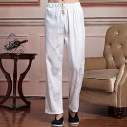 Wholesale Wushu Pants - Wholesale- White Chinese Male Satin Wushu Pants Men Kung Fu Trousers masculina roupas Tai Chi Clothing Size M To XXXL 2519-4