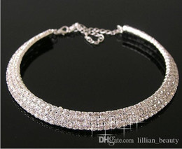 Wholesale Round Ring Setting - Designer 2017 Bridal Jewelry Sexy Men-Made Diamond Necklace Party Prom Formal Wedding Jewelry Set Bridal Accessories 3 rows Crystal