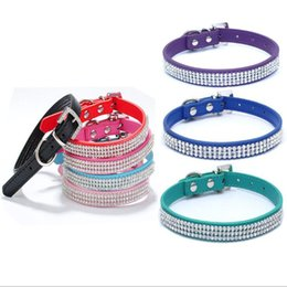 Wholesale Crystal Puppy Collars Free Shipping - Free Shipping! Wholesale crystal Diamond Pet Puppy Dog Cat Party Collars Necklace Chains Pet Products 9 Colors assorted