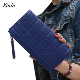 Wholesale Double Chain Wallet - Wholesale- Xiniu women wallets Leather Square Long Purse Double Zipper Card holder Women's Purse carteras mujer para mujer #0504