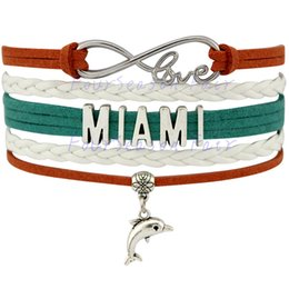 Wholesale Leather Cord Wraps - Custom-Jewelry Infinity Love Miami Football Bracelet Sports Team Wax Cords Wrap Braided Leather Bracelet Best Gift Adjustable Bangles