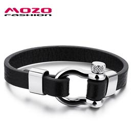Wholesale vintage screws - Wholesale-MOZO FASHION Men Charm Bracelet Black Leather Chain Vintage Bracelet Stainless Steel Screw Clasp Punk Jewelry Pulseras MPH1095