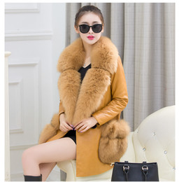 Wholesale Ladies Fur Coat Fox Collar - 2017 New winter high fashion women's luxurious faux fur coat Socialite thick warm sheepskin Real leather jacket parkas Top quality for lady