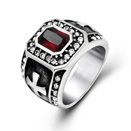 Wholesale Soldier Sets - Steel soldier Man Punk Rings Vintage 316L STAINLESS Steel Red Gem Finger Ring With Stone Fashion Jewelry Hot Sale Item