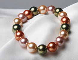 Wholesale Wholesale Sea Shell Pearl Strand - Wholesale pearl bracelet fashion sea shell real pearl bracelet beaded jewelry 6MM AAA free dhl A941
