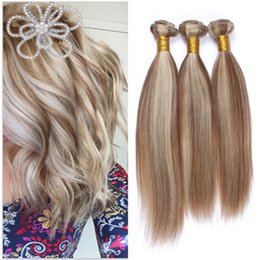 Wholesale Human Hair Extensions Blonde Highlights - 9A Highlight Ombre Peruvian Human Hair Weaves Silky Straight Piano Color #8 613 3Pcs Lot Mixed Brown Blonde Virgin Hair Extensions Dhl Free