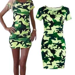 Wholesale Military Women S Dress - 2017 new Fashion Women Summer slim short sleeve Bodycon Camouflage Military Print Sexy Mini Dress dresses Vestido Curto Cortos Short Dress