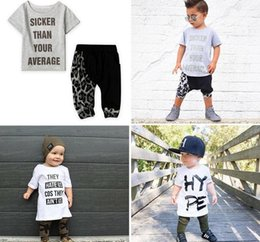 Wholesale Leopard Print Tshirts - ins Boys Girls Childrens Clothing Sets Letters Print tshirts Harem Pants Outfits Summer Toddler Kids Tshirts Trousers Boutique Clothes Sets