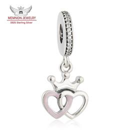 Wholesale Interlocking Hearts - Memnon Jewelry Crowned Hearts Pendant Charms Fit Bracelets necklace DIY 925 Sterling Silver Interlocked Heart Beads Jewelry Making DA185